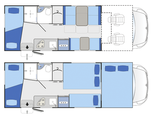 Distribución interior Autocaravana Blucamp Sky71