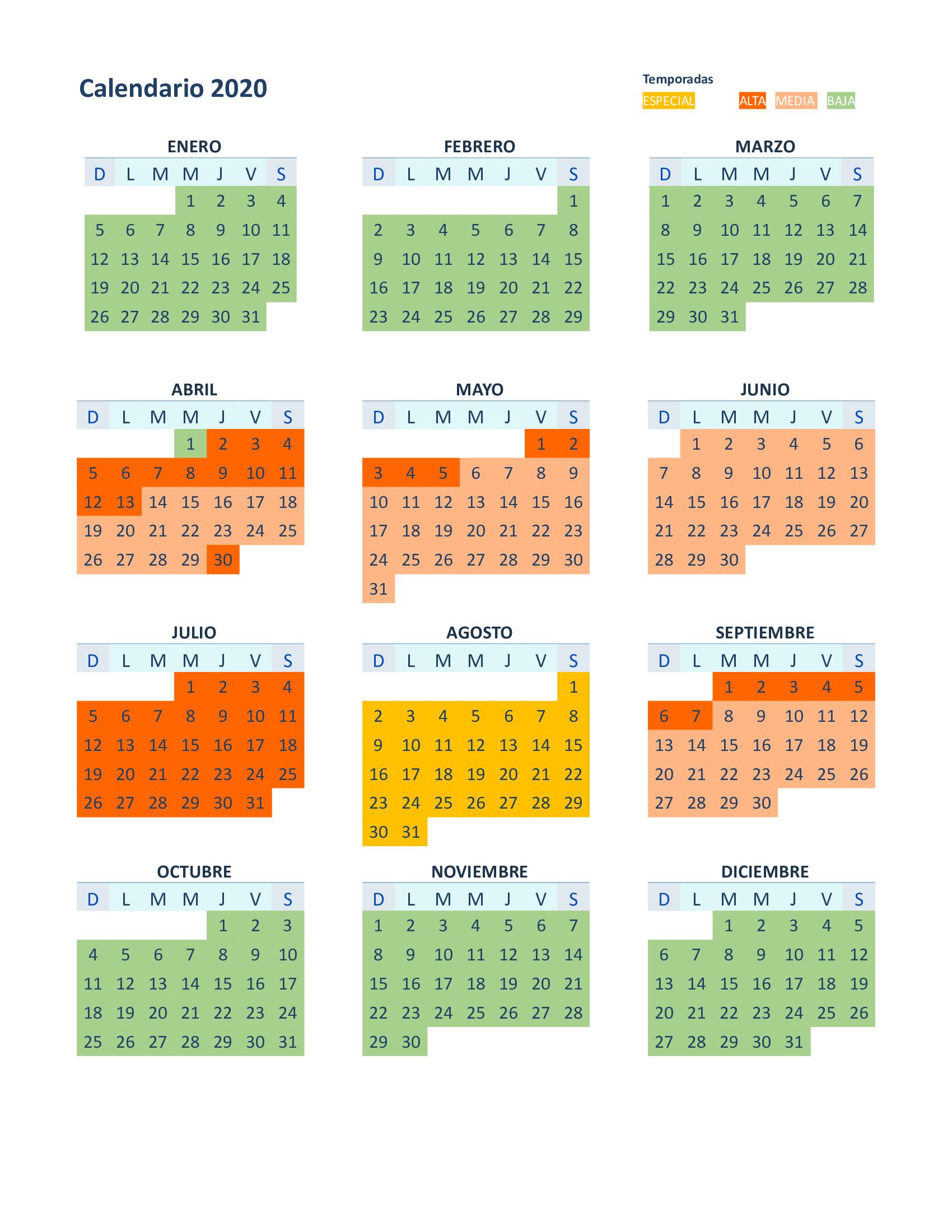 calendario alquiler autocaravanas temporada 2020