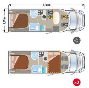 Autocaravana Ilusion XMK 730 plano