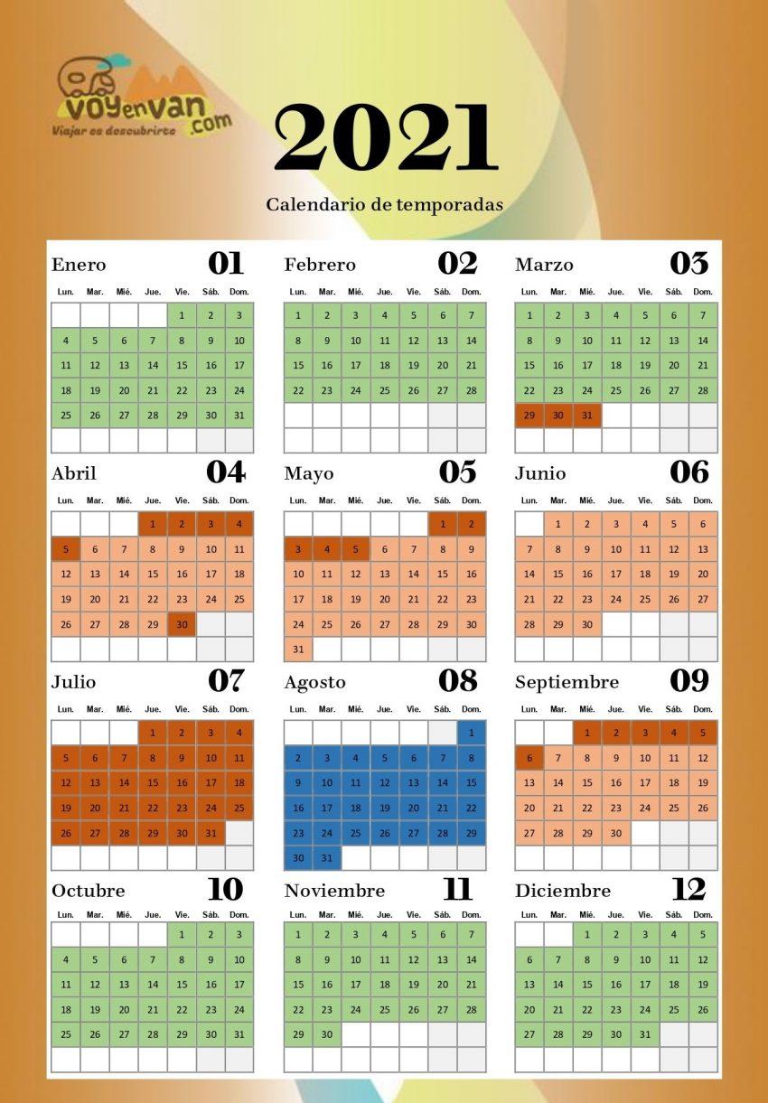 calendario alquiler autocaravanas y campers voyenvan 2021