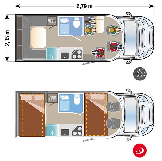 autocaravana Ilusion XMK 650 H PLUS plano