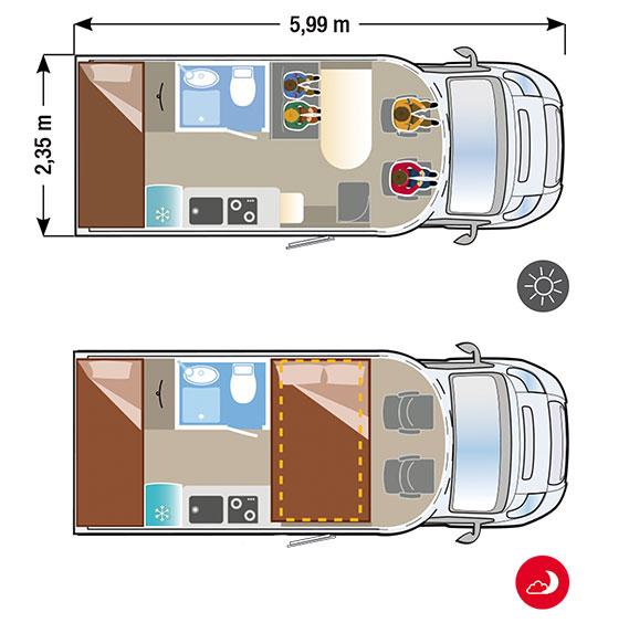 Autocaravana Ilusion XMK 590L H plano