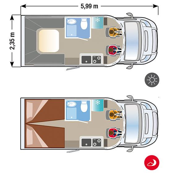 autocaravana Ilusion XMK 590FF H en Madrid plano